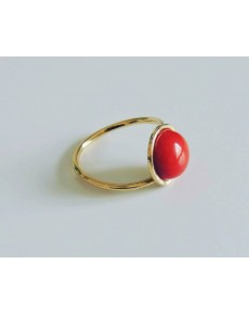 Anello in Oro Giallo e Corallo Rosso